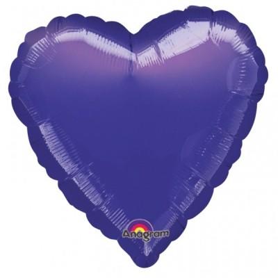 Balon folie 45 cm uni inima mov