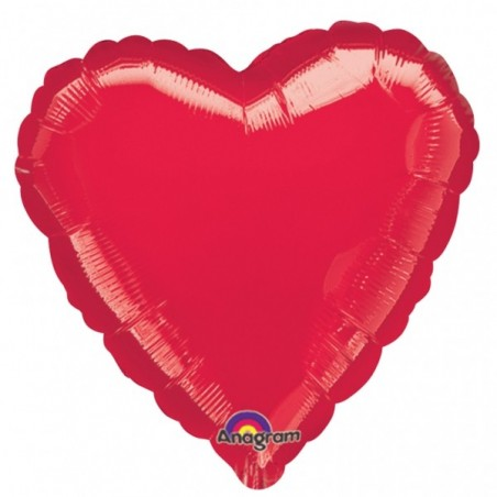 Balon folie 45 cm uni inima rosie