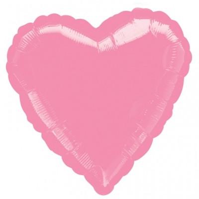 Balon folie 45 cm uni inima rose