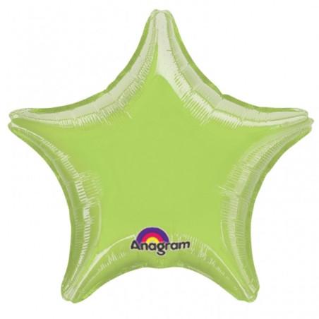 Balon folie 45 cm uni stea vernil
