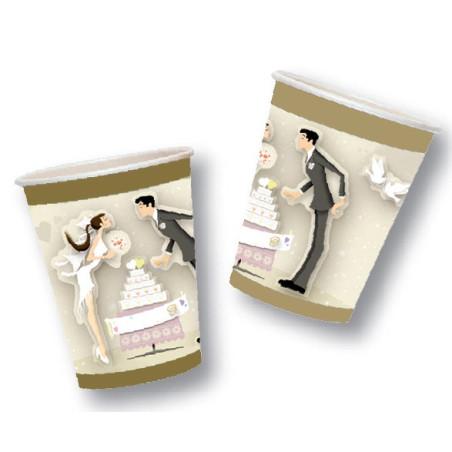 Set 10 pahare carton Nunta