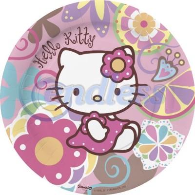 10 farfurii carton 23 cm Hello Kitty Bamboo