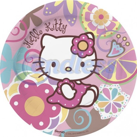 10 farfurii carton 23 cm Hello Kitty Bamboo