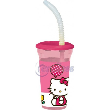 Pahar cu pai 40 cl Hello Kitty Tulip