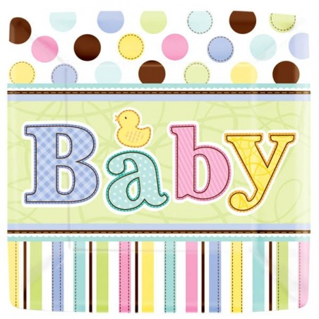 18 farfurii botez 17.7 cm baby shower party