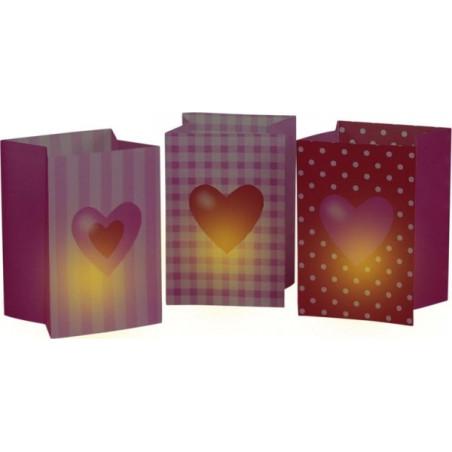 Set 3 pungi luminoase inimioare rosii