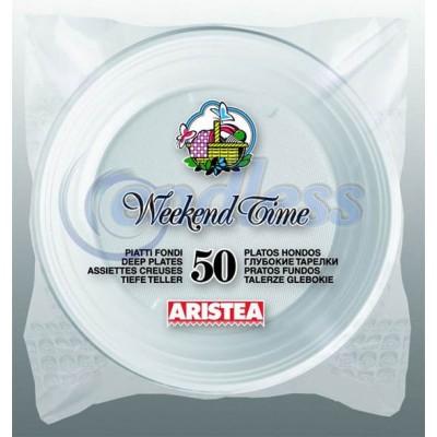 Set 50 farfurii albe adanci 20,3 cm unica folosinta