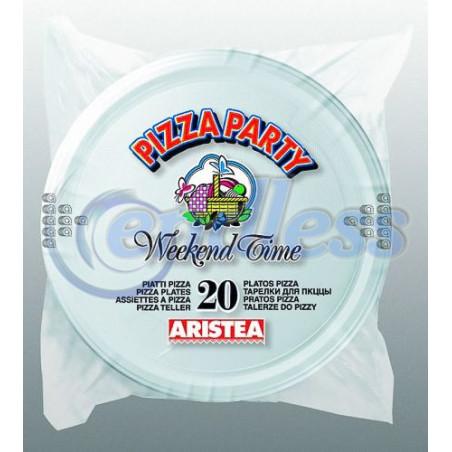 Set 20 farfurii albe pizza 31 cm unica folosinta