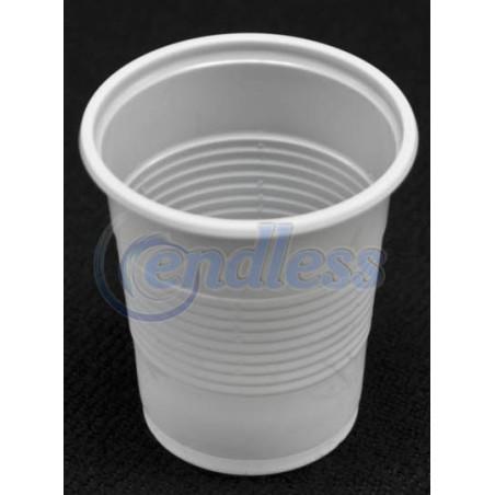 Set 100 pahare plastic albe 200 cc unica folosinta