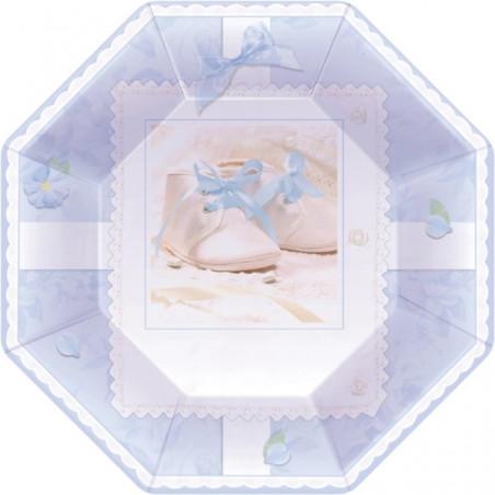 Set 8 farfurii octogonale Botez Baiat