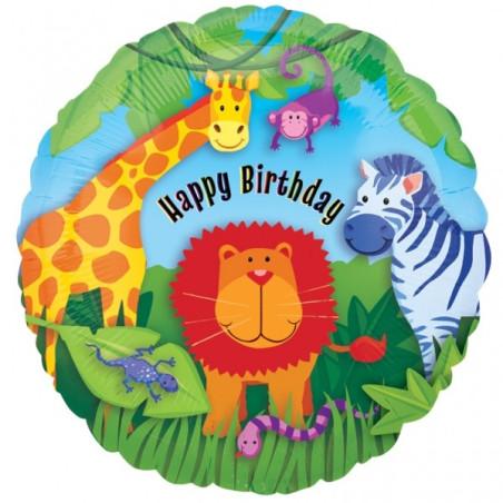 Balon folie 45 cm Happy Birthday Jungle