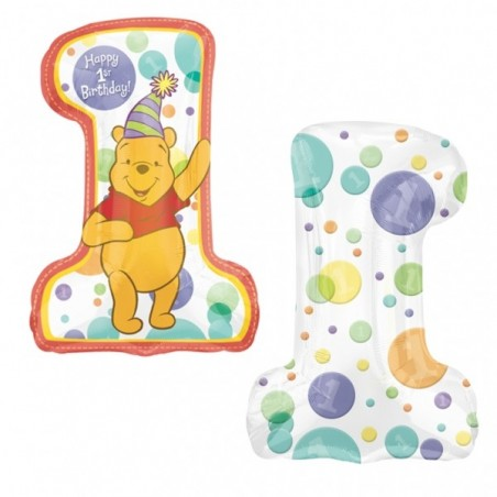 Balon folie figurina cifra 1st Birthday Winnie
