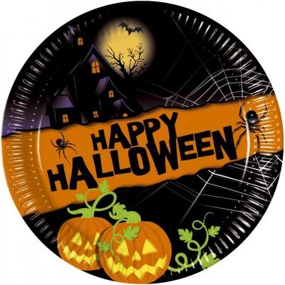 Set 8 farfurii carton 20 cm Happy Halloween