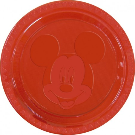 Set 6 farfurii plastic Mickey Face Red