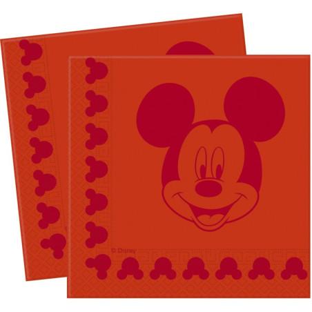 Set 20 servetele Mickey Face Red
