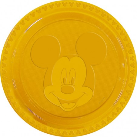 Set 6 farfurii plastic Mickey Face Yellow