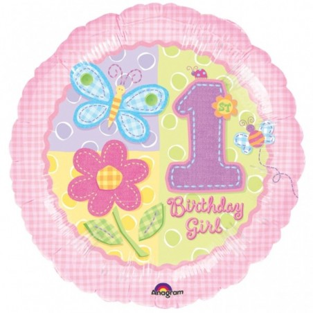 Balon folie 45 cm 1st Birthday Girl