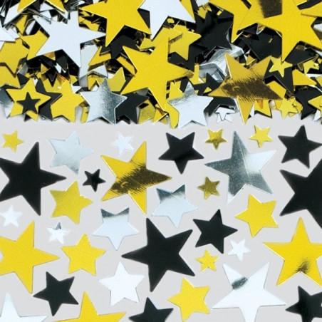 Confetti masa stelute aurii, argintii, negre