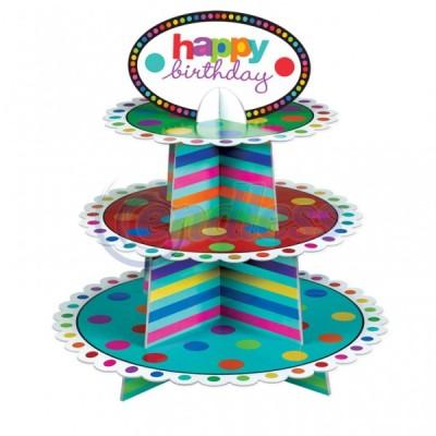 Stand prajituri 3 etaje Happy Birthday