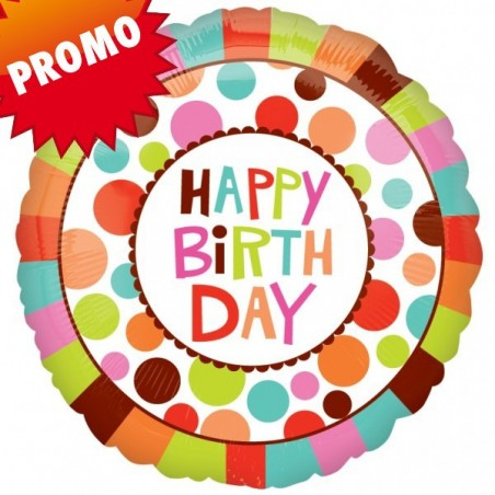 Balon folie 45 cm Happy Birthday Colors