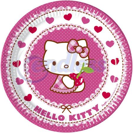 Set 8 farfurii carton 23 cm Hello Kitty Hearts