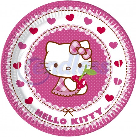Set 8 farfurii carton 23 cm Hello Kitty Hearts