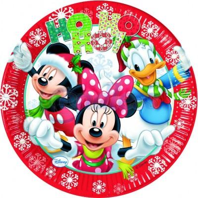 Set 8 farfurii party 23 cm Mickey Xmas