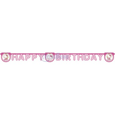 Banner Happy Birthday Hello Kitty Hearts
