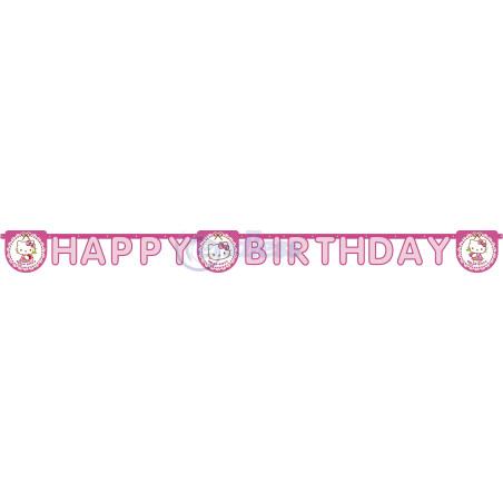 Banner Happy Birthday Hello Kitty Hearts