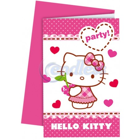 Set 6 invitatii party Hello Kitty Hearts