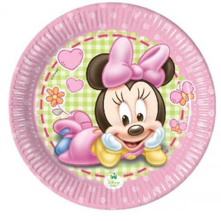 Set 8 farfurii party carton 20 cm Minnie Baby