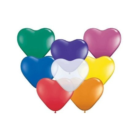 Set 100 baloane latex 25 cm inima asortate