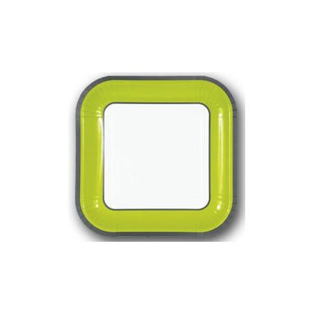 Set 10 farfurii patrate 18 cm Verde Lime