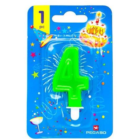 Lumanare cifra 4 verde fluo