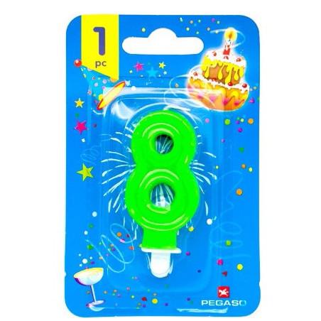 Lumanare cifra 8 verde fluo