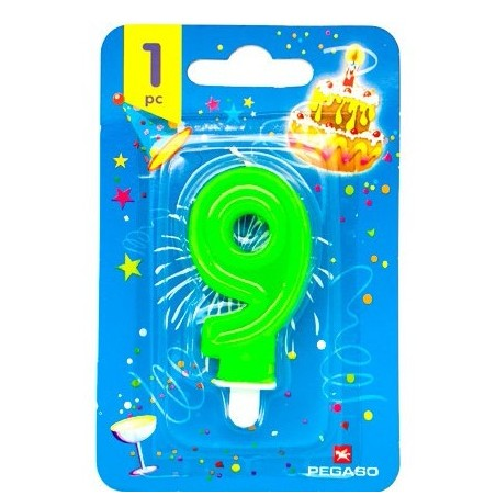 Lumanare cifra 9 verde fluo
