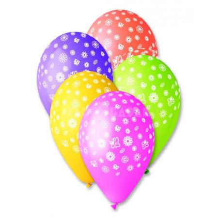 Set 100 baloane asortate inscriptionate floricele si fluturi