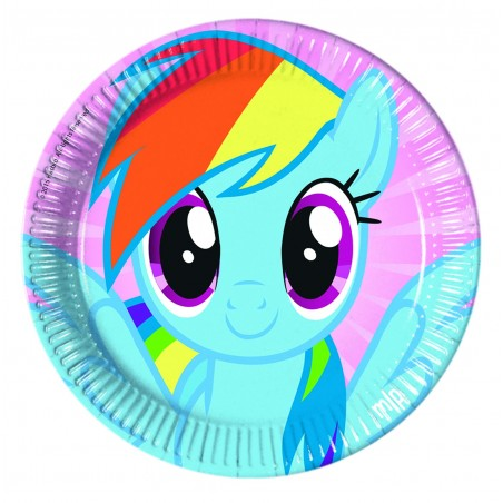 Set 8 farfurii party 23 cm Pony Rainbow
