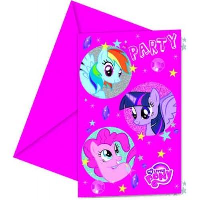 Set 6 invitatii cu plicuri Little Pony Sparkle