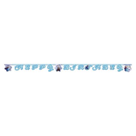 Banner litere decupate Happy Birthday Frozen Ice Skating