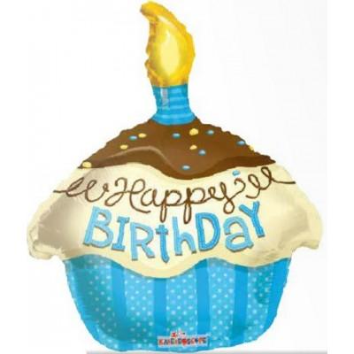 Balon folie figurina prajitura Birthday Boy - 46 cm