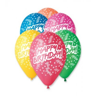Set 100 baloane asortate inscriptionate Happy Birthday