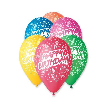 Set 100 baloane asortate inscriptionate Happy Birthday streamers
