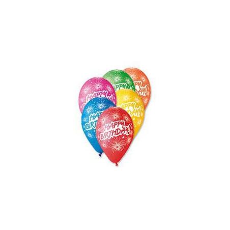 Set 100 baloane asortate inscriptionate Happy Birthday artificii