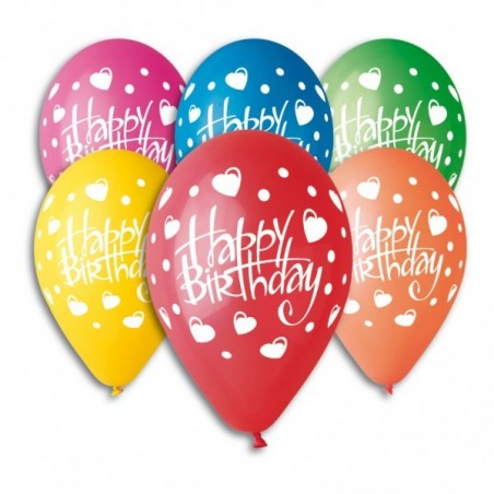 Set 100 baloane asortate inscriptionate inimi Happy Birthday