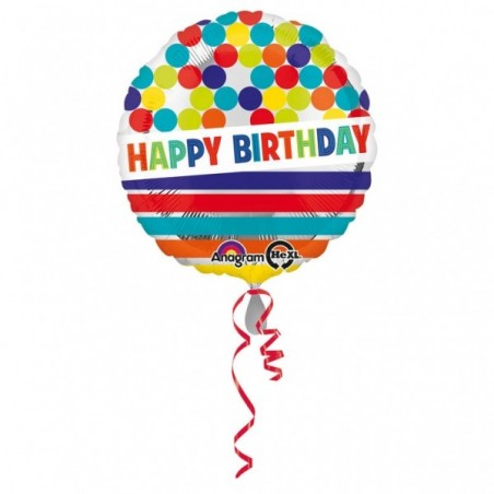 Balon folie 45 cm Happy Birthday Dots and Stripes