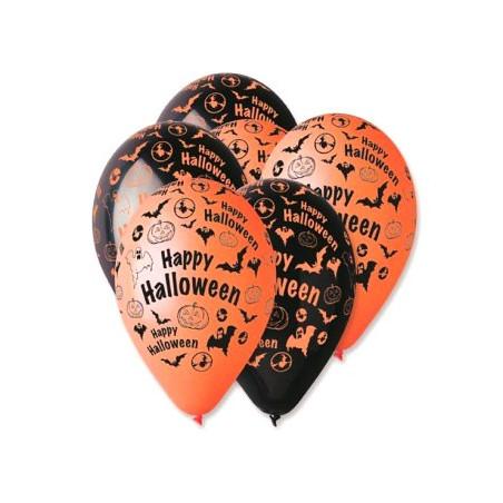 Set 100 baloane asortate inscriptionate Happy Halloween