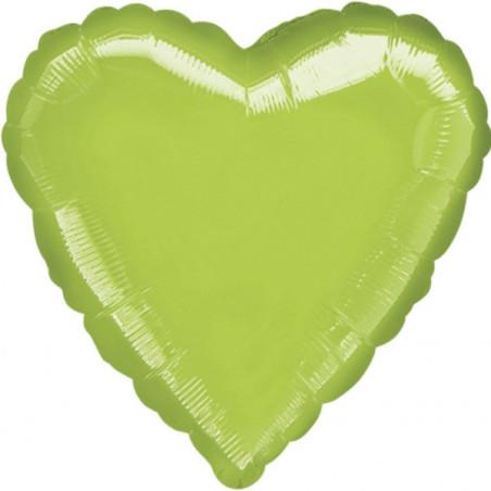 Balon folie 45 cm uni inima verde deschis