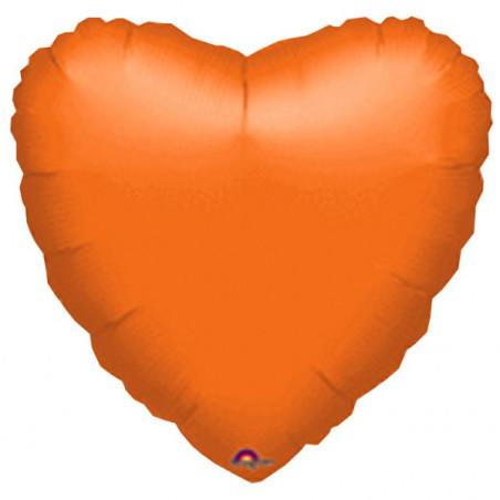 Balon folie 45 cm uni inima portocaliu
