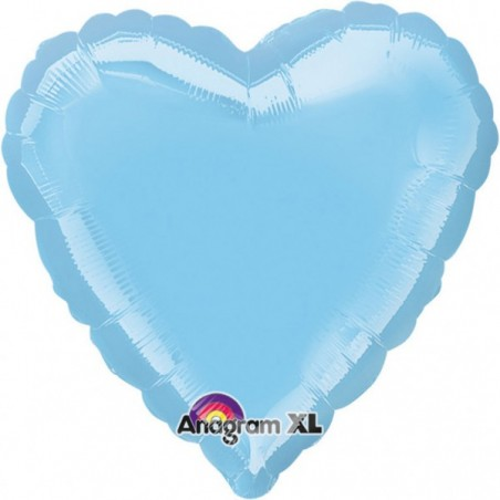 Balon folie 45 cm inima uni iridiscent bleu